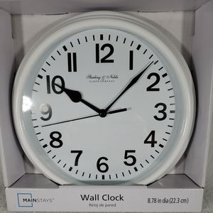Sterling & Noble Round Wall Clock White NEW